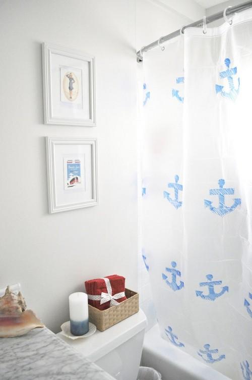 Шторки для ванной в морском стиле фото