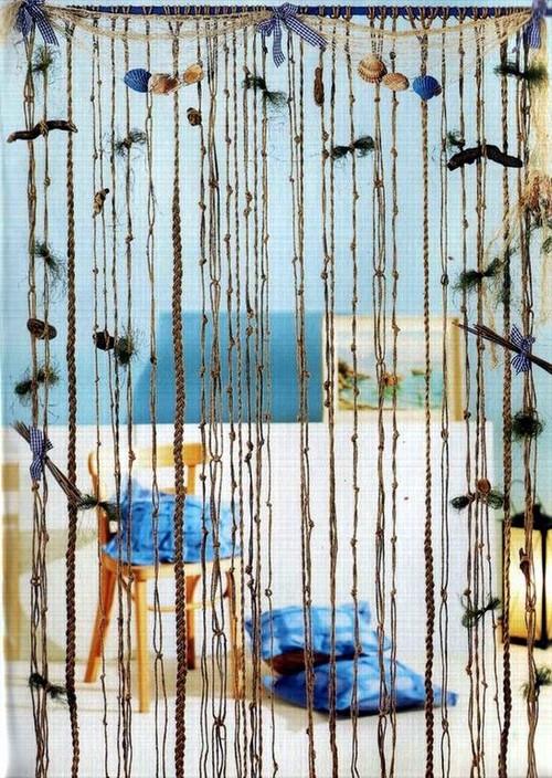 Дизайн веревочных штор в морском стиле