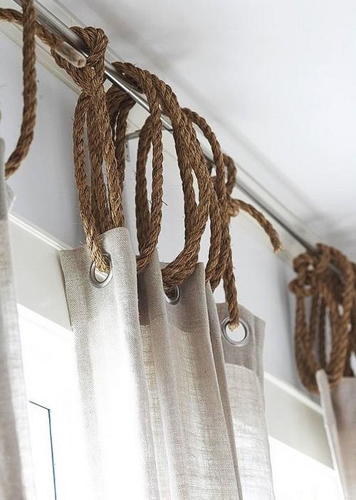 Льняная ткань для штор в морском стиле