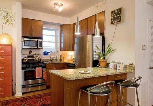 Дизайн маленькой кухни объединенной с гостиной