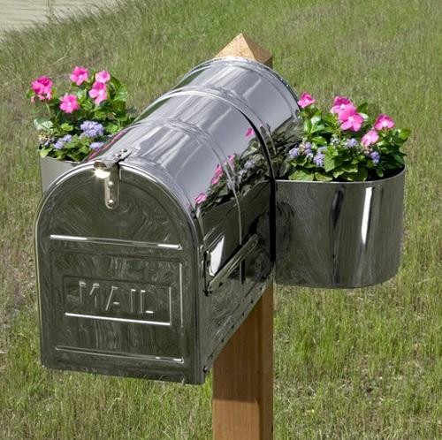 Оригинальный ящик почтовый металлический уличный с цветами