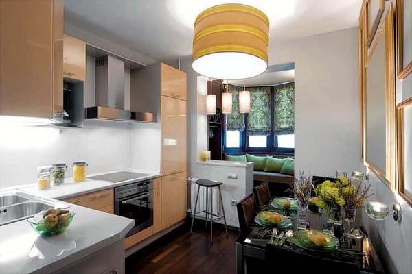 Барная стойка на кухне совмещенной с балконом