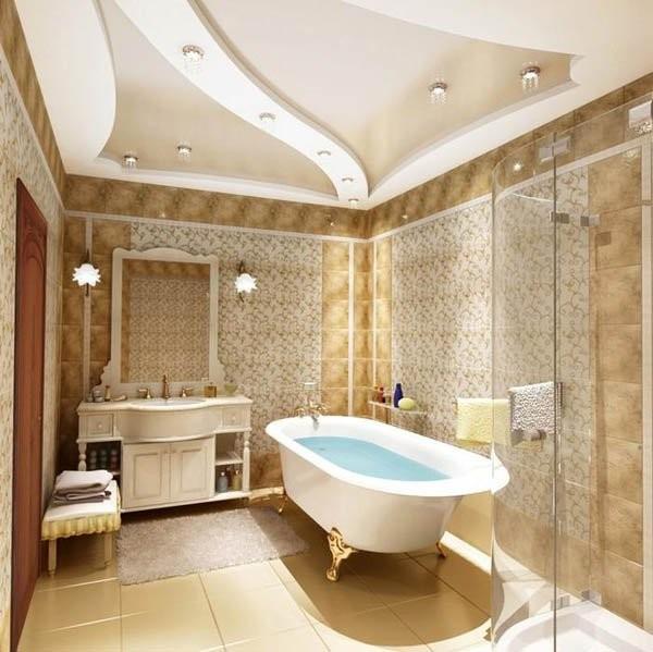 дизайн натяжного потолка в ванной