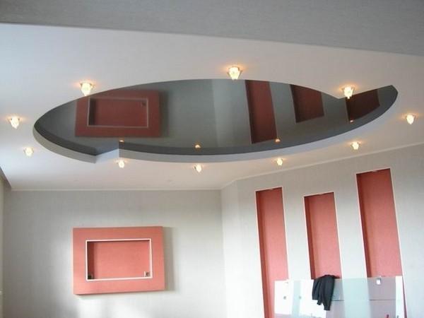 Необычный дизайн натяжного потолка в ванной комнате фото