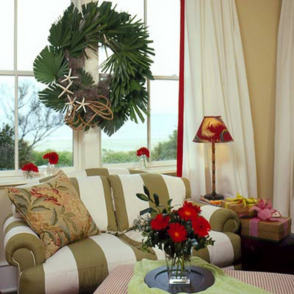 Рождественский венок на окно