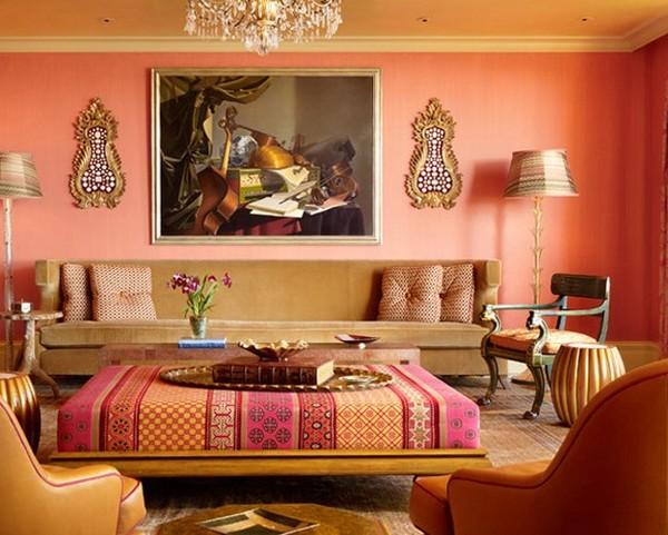 персиковые обои в интерьере гостиной