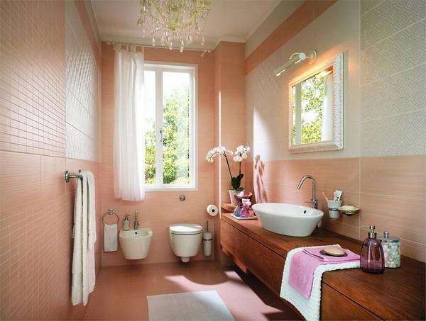 Ванная в персиковых тонах фото