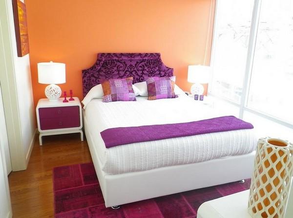 Сочетание персикового и фиолетового фото