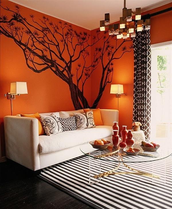 Ярко-персиковый цвет стен в интерьере