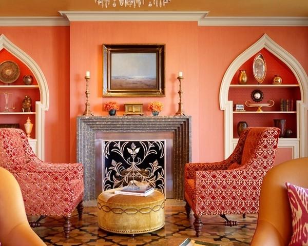 Гостиная в персиковых тонах
