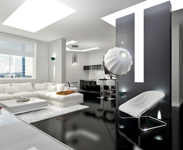 Белая гостиная в стиле техно фото