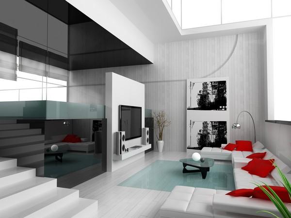 Светлая гостиная в техно стиле