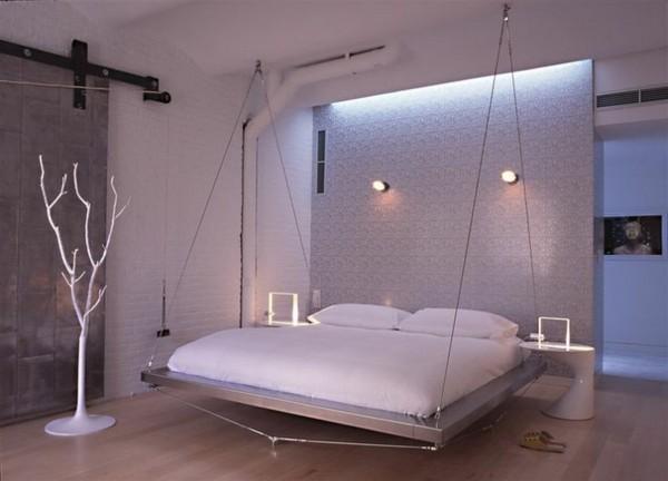 Спальня с подвесной кроватью в стиле техно
