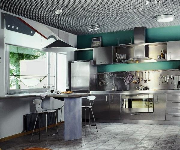 Зеленая кухня в стиле техно