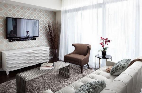 Телевизор на стене в интерьере гостиной фото