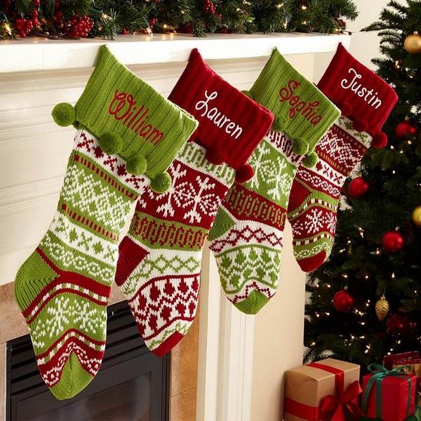 рождественские вязаные носки