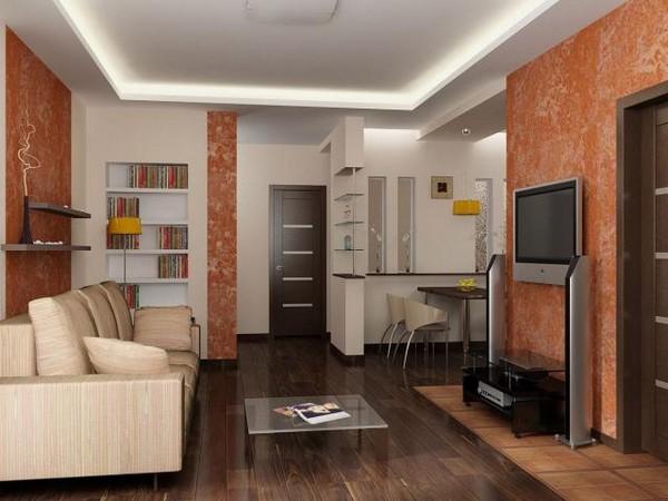 планировка гостиной совмещенной с кухней