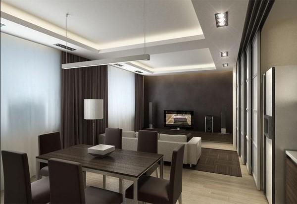 идеи зонирования кухни и гостиной
