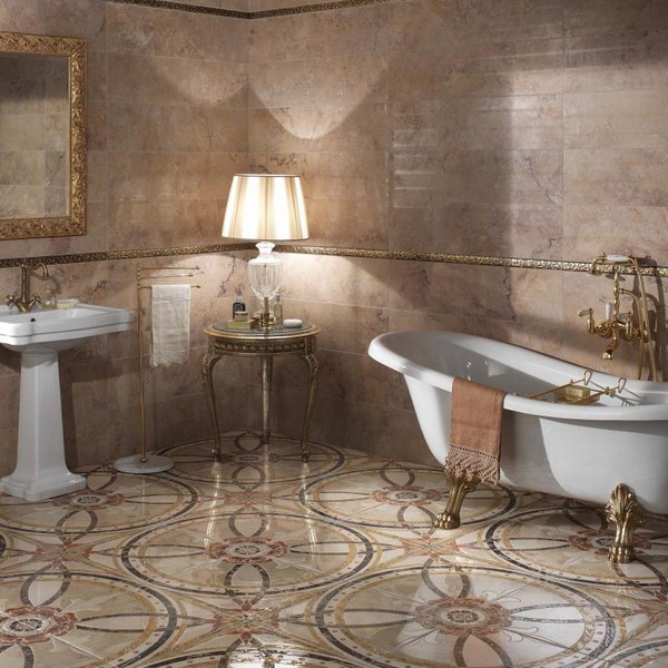 Красивый пол в ванной из керамогранита