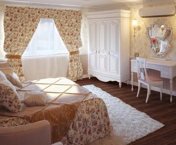 Покрывало и шторы для спальни в одном стиле