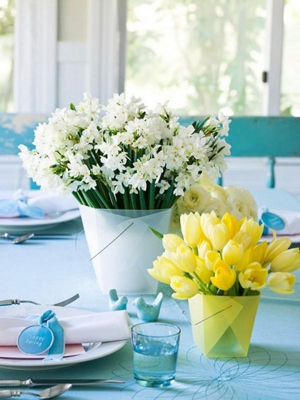 Украшение стола к завтраку цветами фото