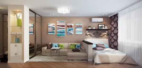 Зонирование гостиной и спальни шкафом-купе