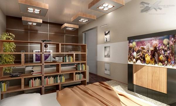 Идеи зонирования спальни и гостиной стеллажами