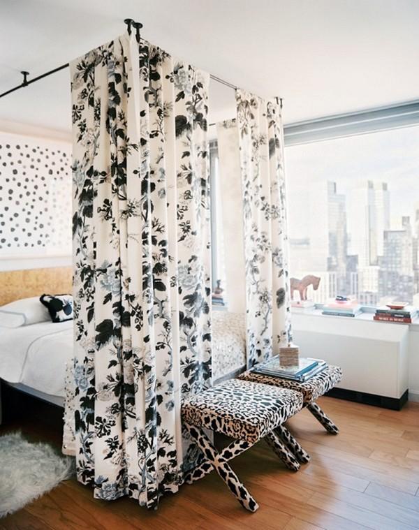 Идеи зонирования гостиной спальни - шторки