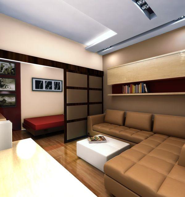 Двери-купе для зонирования спального места в гостиной