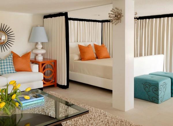 Шторки для зонирования спальни-гостиной