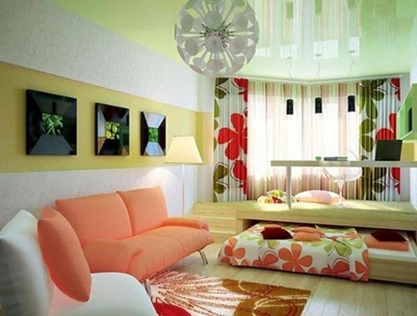 Совмещенные спальня и гостиная фото