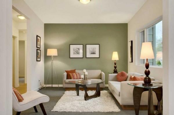 Акцентная стена в гостиной фото