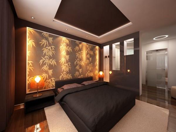 Акцентная стена в спальне фото