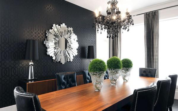 Черная стена акцентная в столовой