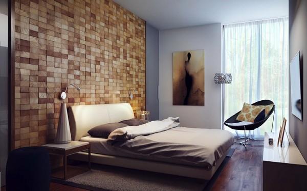 акцент на стену за изголовьем кровати