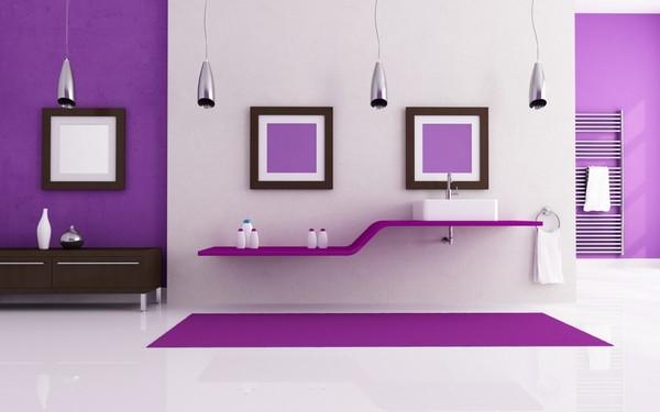 Сиреневый в интерьере ванной фото