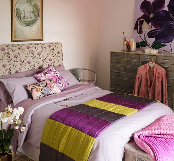 Сочетание сиреневого цвета в интерьере спальни