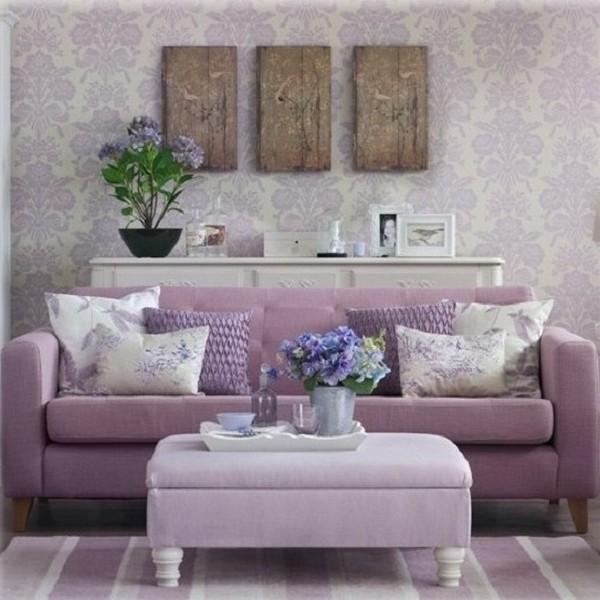 Сиреневый диван в интерьере фото