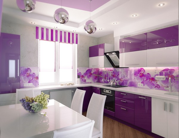 Современная кухня в сиреневом цвете