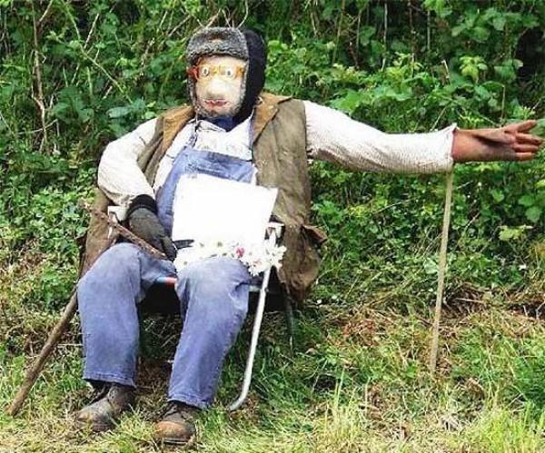 Страшный дед-пугало на огороде