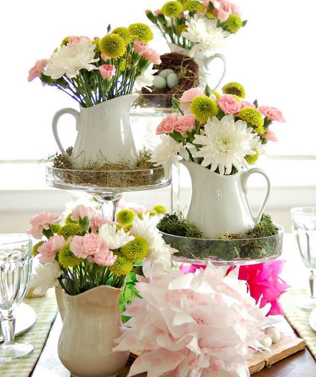Украшение пасхального стола цветами фото