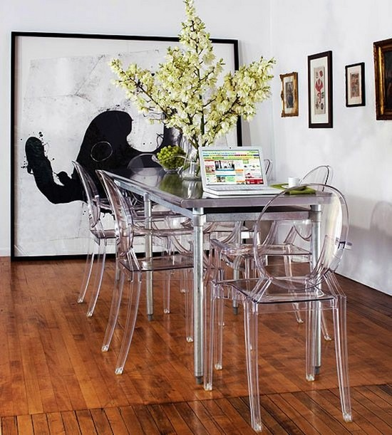 Тенденции в интерьере кухни 2015 - прозрачные стулья