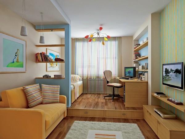 Все стены комнаты заставлены мебелью