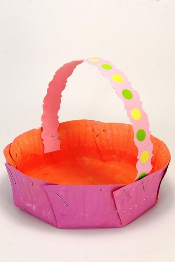 Пасхальная корзинка из пластиковой тарелки