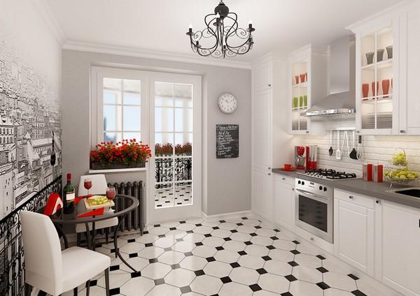 Белая кухня в стиле бистро фото