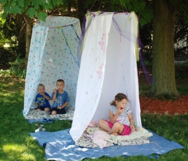 Детские шалаши из обруча и ткани