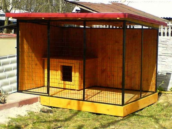 Собачья будка в вольере фото