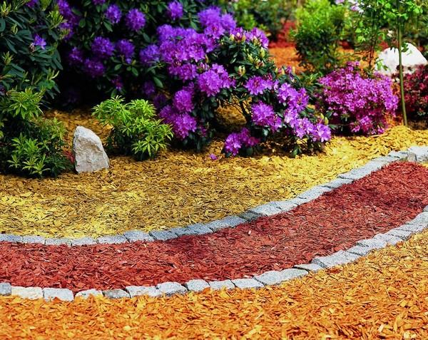 Декоративная цветная щепа фото