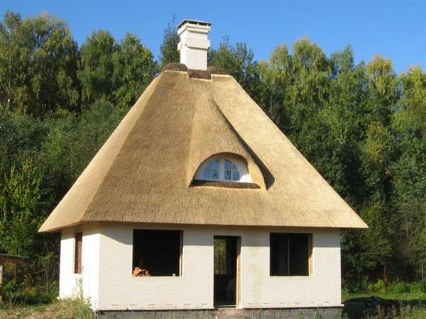 Домик с крышей из камыша фото