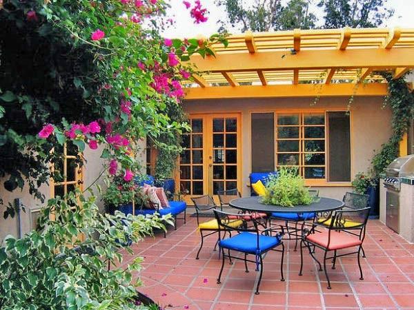 Обустройство террасы с летней кухней фото